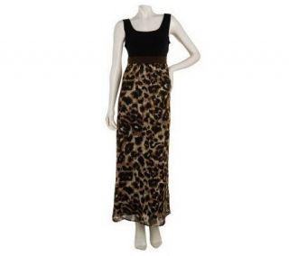 Susan Graver Animal Print Chiffon Maxi Dress w/Liquid Knit Bodice