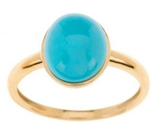Oval Sleeping Beauty Turquoise Ring 14K Gold —