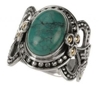Suarti Artisan Crafted Sterling/18K Oval Gemstone Ring —