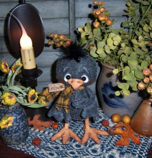 Primitive Black Chicken Crow Bird Bear Style 6 Doll ★ Pattis