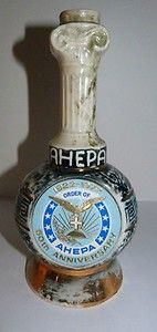 Vintage Jim Beam Whiskey Decanter Bottle 1972 ORDER OF AHEPA Barware