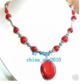 18 Tibet Jewelry Genuine Red Coral Necklace Pendant