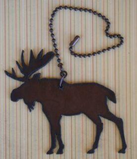Moose Rustic Metal Fan Pull Lite Pull Lodge Decor Moose Fan Pull