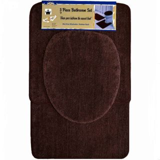 Piece Brown Bathroom Set Bath Contour Rug Lid Toilet seat Cover Mat