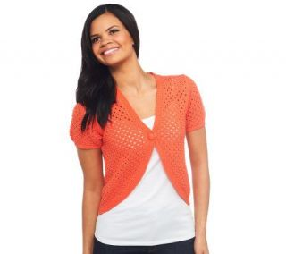 Liz Claiborne New York Open Front Short Sleeve Crochet Shrug   A222134