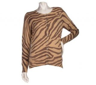 Precious Fibers 2 Ply Cashmere Animal Print Cardigan with Novelty