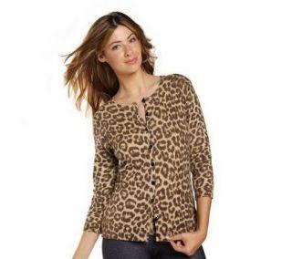 Isaac Mizrahi Live Leopard Print 3/4 Sleeve Knit Cardigan —