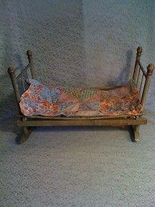 Vintage Antique Victorian primitive doll trundle bed cradle w/ quilt
