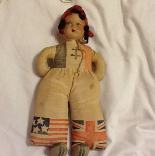 Vintage United Kingdom Doll with A Composition Head and Straw Stuffed