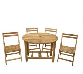 Solid Wood Folding 39 Round Table with 4 Chairs —