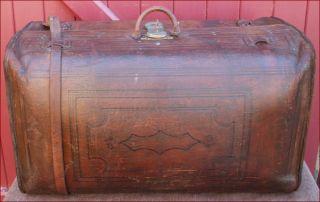 Sole Leather Trunk Suitcase Travel Philip Corbin Cabinet Lock 1880