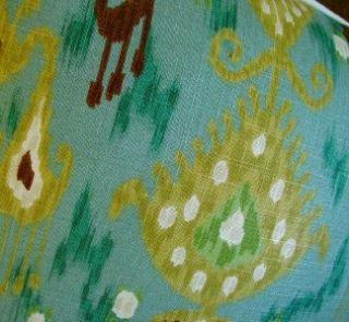 Robert Allen Linen Blend Fabric Custom Designer Throw Pillows Pair New