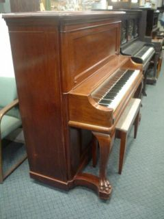 Conover Upright Piano Carved Curved Legs Mahogany A440