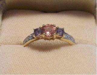 Beautiful Color Change Garnet Color Change Sapphire Diamond 14 K YG