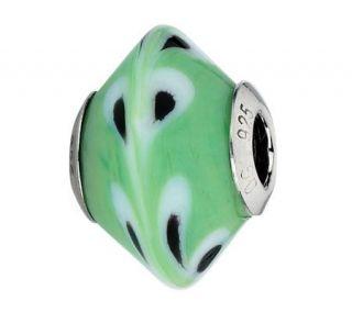 Prerogatives Green, White/Black Raindrops Italian Murano Bead