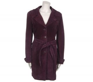 Centigrade Washable Suede Trench Coat with Thermolite Lining