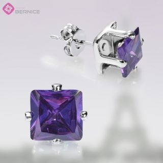 Fashion Lady Jewelry Purple Amethyst 18K White Gold GP Square Cut
