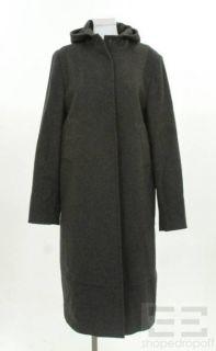 costume national dark grey wool hooded coat size 46