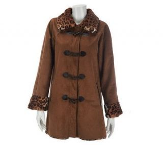 Dennis Basso Faux Suede Toggle Coat with Leopard Faux Fur Trim