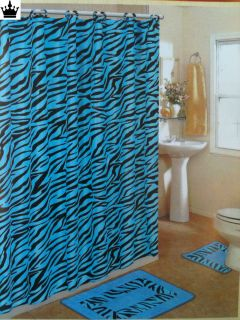 Turquiose Zebra Bathroom Set Bath Mat Contour Rug Fabric Shower