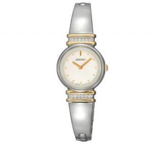 Seiko Ladies Crystal Silvertone Watch   White Dial   J298148
