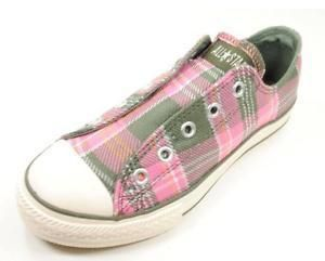 Converse Girls Pink Green White Plaid All Star Shoes Slip on in