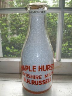Coudersport PA Maple Hursts Ayrshire Dairy Milk Bottle RH Russell