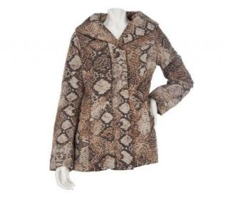 Dennis Basso Animal Print Quilted Coat with Faux Fur Lining —