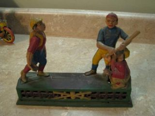 Antique Mechanical Cast Iron Bank Hometown Baseball Vtg