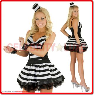 New Ladies Prisoner Convict Black White Fancy Dress Up Costume Mini