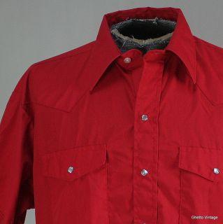 Western Pearl Snap Shirt XL Solid Vtg Mens Cowboy Short Sleeve USA