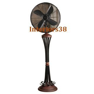Brown Scrolls Floor Standing Oscillating Whisper Fan 3 Speed