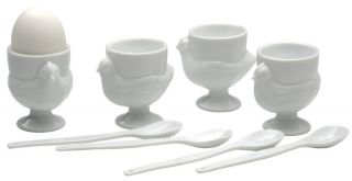 SOFT BOILED HEN EGG CUPS & SPOON SET 4 WHITE PORCELAIN