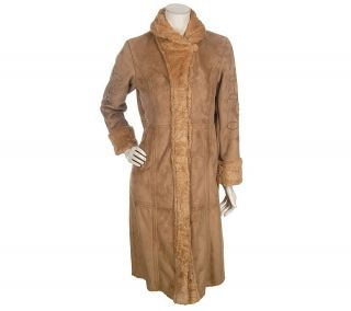 Dennis Basso Faux Suede Long Coat with Embellishment —