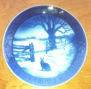 Vintage Royal Copenhagen Annual Christmas Plate 1971 Hare in Winter
