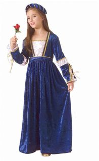 Renaissance Girl Costumes Juliet Blue Child Costume Dress Shakespeare