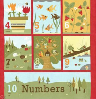 Jenn Ski Ten Little Things Counting Numbers Panel Red 5 8 Yard Each
