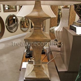 French Country Wood Architectural Table Lamp