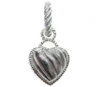 Judith Ripka Sterling Silver Textured Heart Charm Pendant   J310552