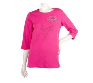 Quacker Factory Long Stem Rose Rhinestone 3/4 Sleeve Knit Top   A81754
