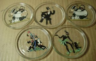 1940s Drink Coasters with Classic Bar Art Vintage Clear Glass w Color