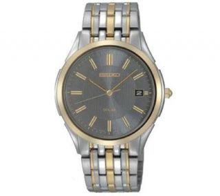 Seiko Mens Two tone Solar Dress Watch with Charcoal Dial —