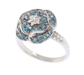 AffinityDiamond 3/4 ct tw Sterling Blue & White Flower Ring —