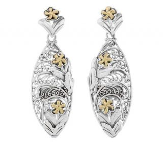 Artisan Crafted Floral Post Earrings, Sterling/14K Gold   J304157