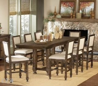 9pc Ardenwood Rustic Oak Wood Counter Dining Table Set