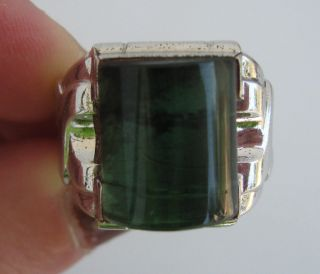 Deco Clark Coombs Sterling Green Moss Agate Mens Ring