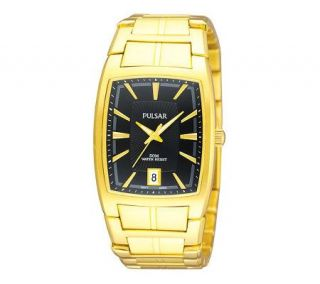 Pulsar Mens Goldtone Dress Watch with Black Dial —