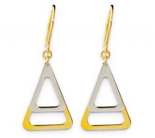 14K Gold Two tone Triangle Dangle Earrings —