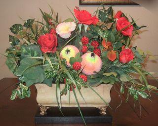 and Pomegranate Fruit Silk Flower Floral Arrangements Elegant