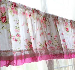 Shabby Country Chic Rose Ruffled Wildflower Pink White Kitchen Curtain